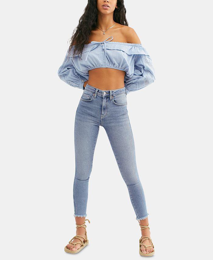 Free People - Frayed-Hem Skinny Ankle Jeans