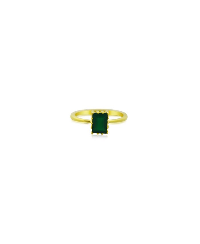 Macy's - Rectangle Green Agate (1 ct. t.w.) Stack Ring