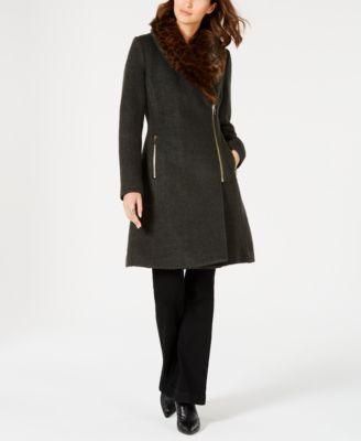 INC Faux-Fur-Trim Asymmetrical Walker Coat, Created for Macy