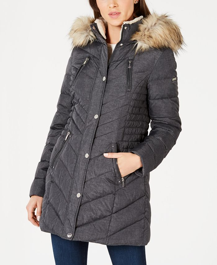 Laundry by Shelli Segal - Faux-Fur Trim Hooded Puffer Coat