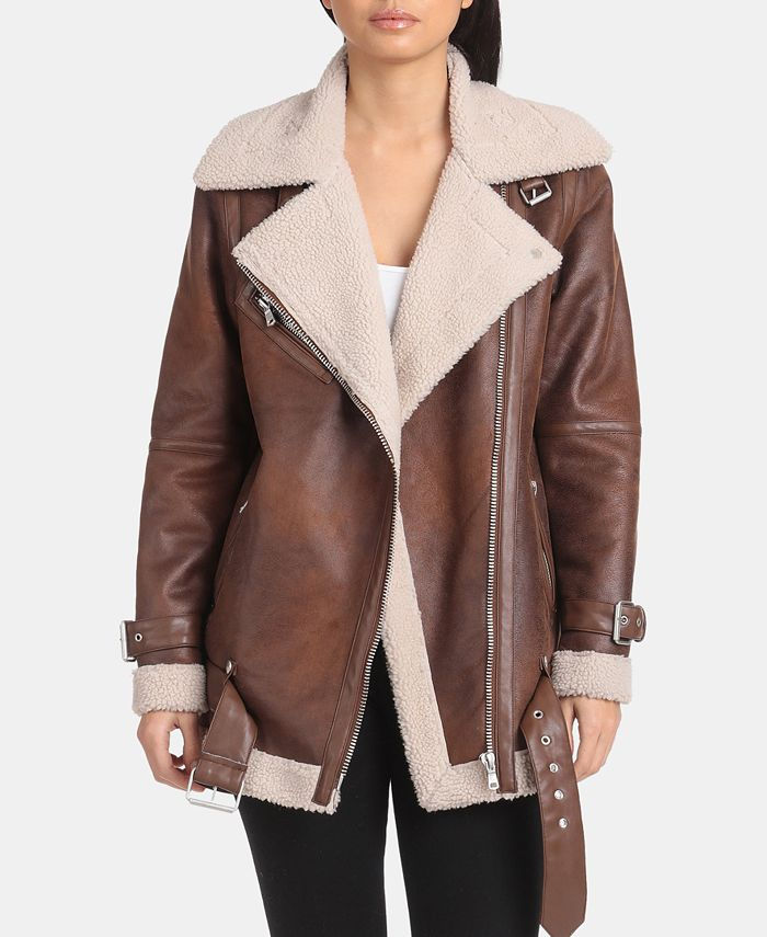 Avec Les Filles - Asymmetrical Faux-Shearling Moto Jacket