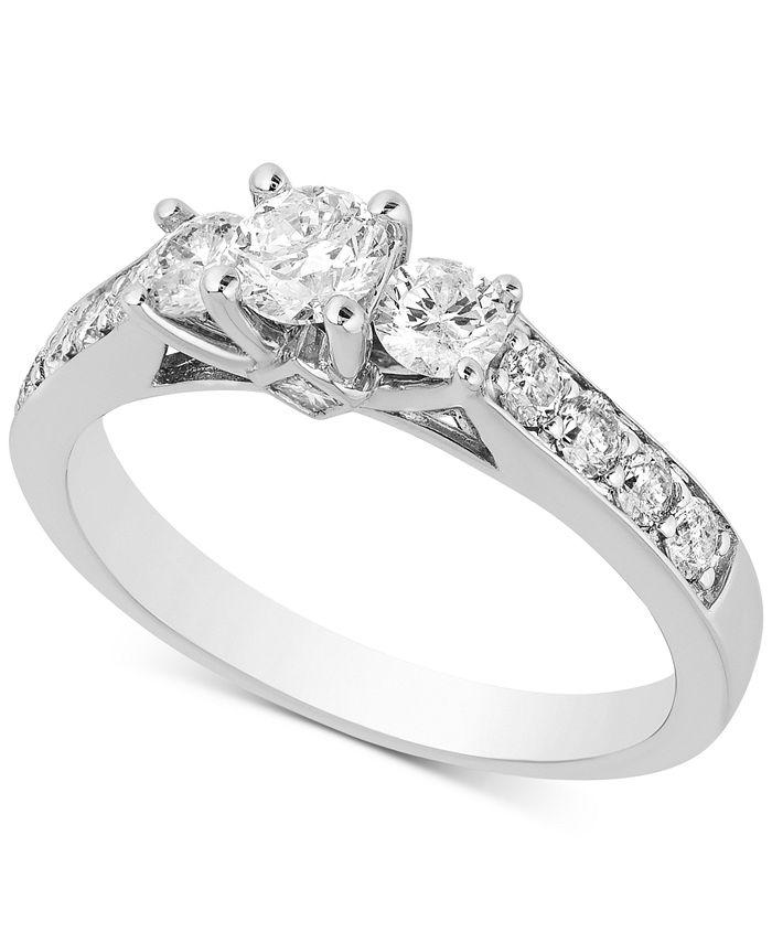 Macy's - Diamond Three-Stone Engagement Ring (1 ct. t.w.) in 14k White Gold