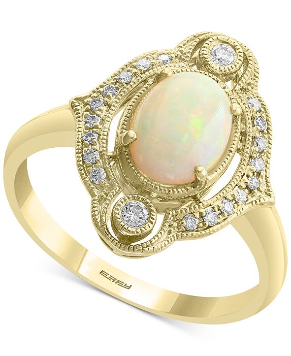EFFY Collection EFFY® Opal (5/8 ct. t.w.) & Diamond (1/8 ct. t.w.) Halo Ring in 14k Gold