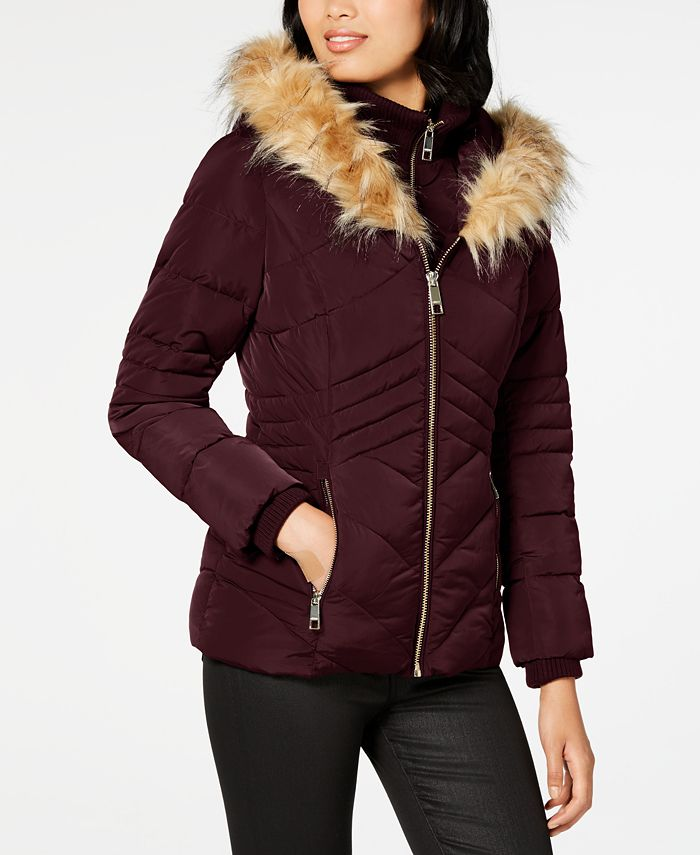 GUESS - Bibbed Faux-Fur-Trim Puffer Coat