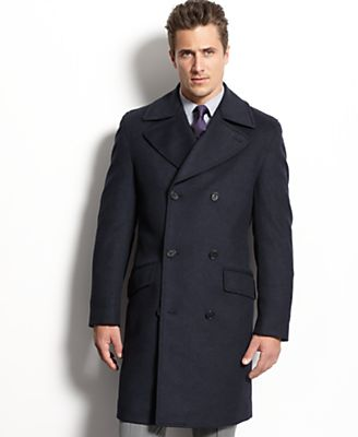Tasso Elba Coat, Double-Breasted Wool-Blend Peacoat