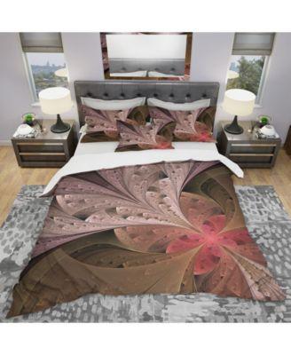 Designart 'Beautiful Fractal Flower In Beige' Modern and Contemporary Duvet Cover Set - King