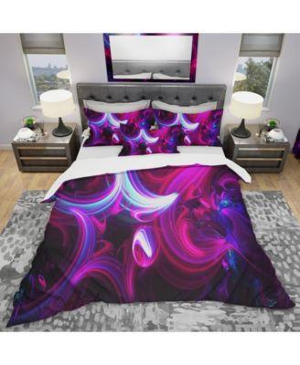 Designart 'Purple Haze Abstract' Modern and Contemporary Duvet Cover Set - King