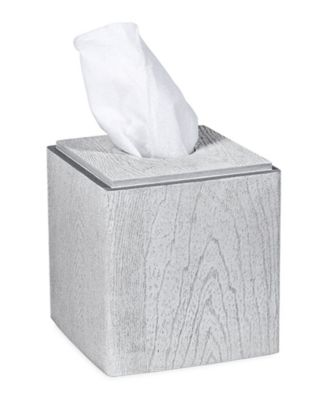 Grey Wood Tissue Box