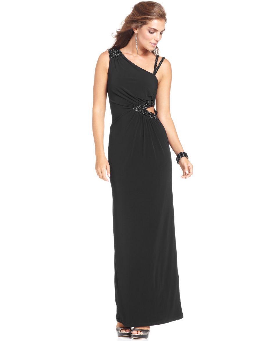 Lauren Ralph Lauren One Shoulder Brooch Gown   Dresses   Women