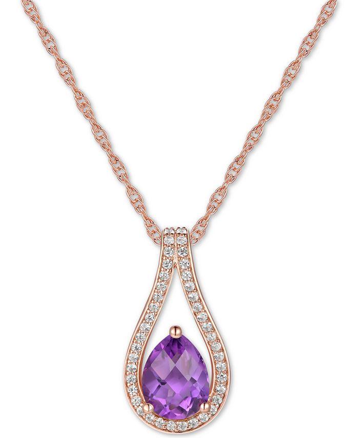 """Macy's - Amethyst (1 ct. t.w.) & Diamond (1/6 ct. t.w.) Teardrop 18"""" Pendant Necklace in 14k Rose Gold"""