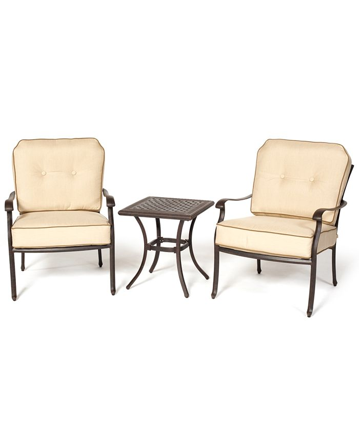 Furniture - Bellingham Outdoor 3 Piece Seating Set: 2 Lounge Chairs and End Table