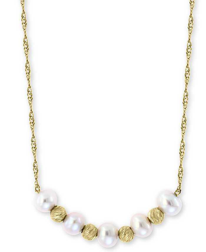 """EFFY Collection - Cultured Freshwater Pearl (3-1/2mm) & Bead 18"""" Statement Necklace in 14k Gold"""
