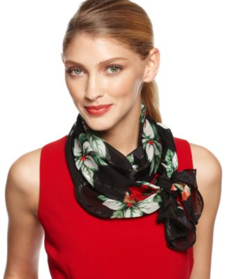 Cejon Scarf, Holiday Satin Poinsettia