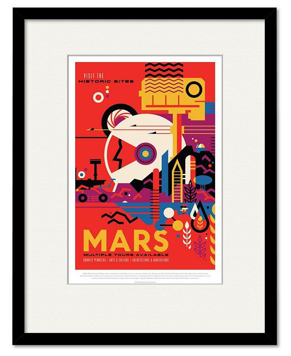 """Courtside Market Mars 16"""" x 20"""" Framed and Matted Art"""