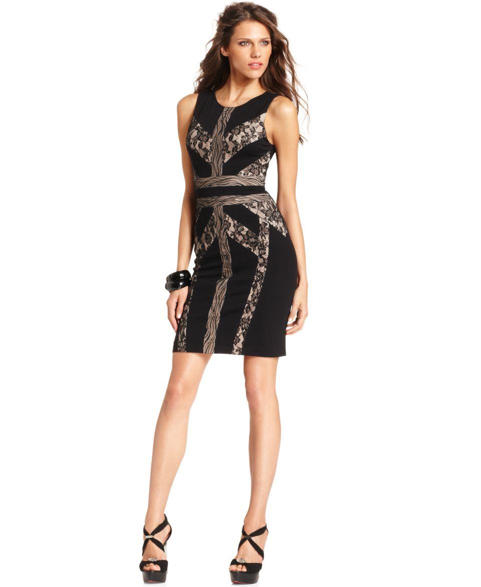 BCBGMAXAZRIA Dress, Sleeveless Scoop Neck Lace Bandage