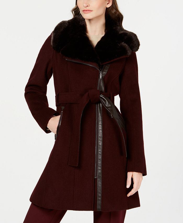 Via Spiga - Asymmetrical Belted Faux-Fur-Collar Coat