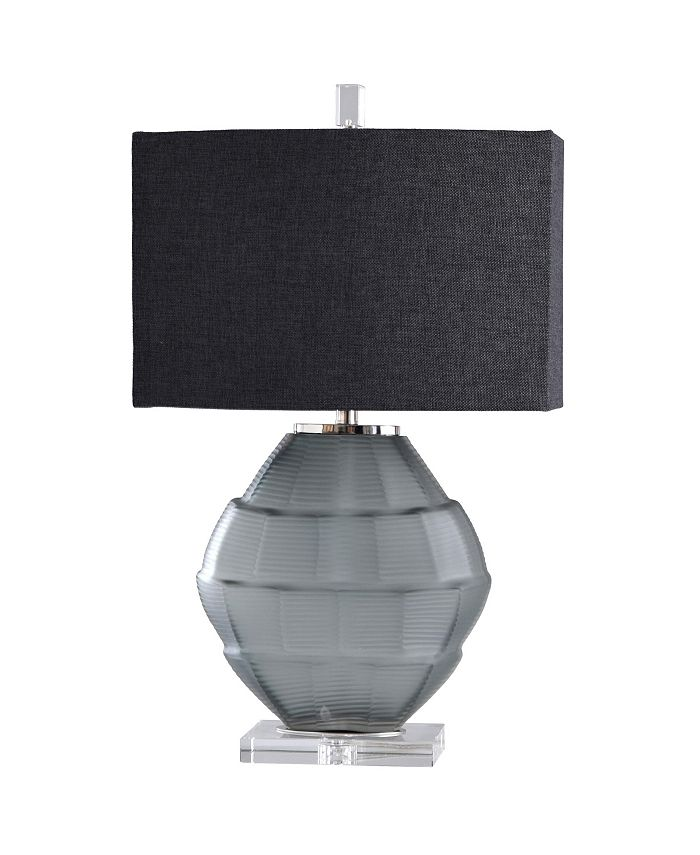 Harp & Finial - Astor Table Lamp Charcoal Glass Body with Crystal Base Hardback Shade