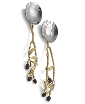 Michael Aram Set of 2 Olive Branch Gold Servers