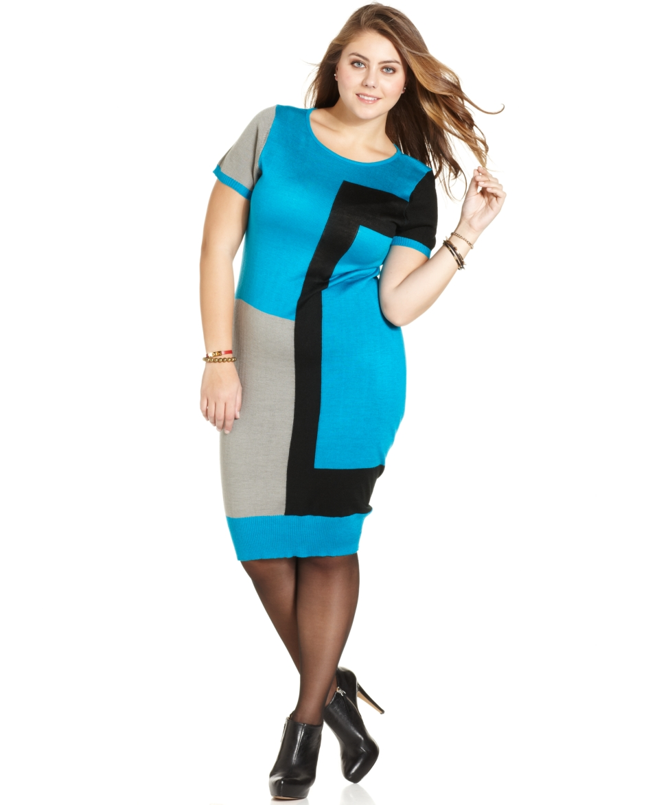 Love Squared Plus Size Dress, Short Sleeve Colorblocked Sweater
