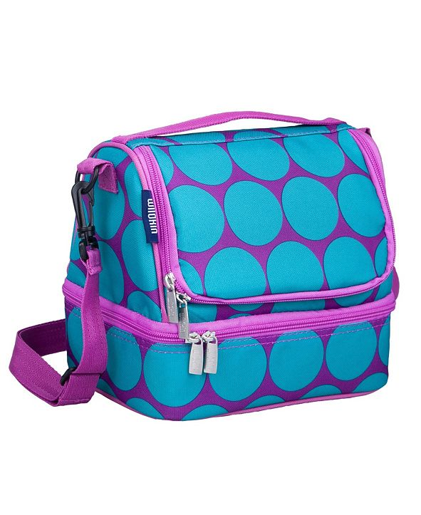 Wildkin Big Dot Aqua Two Compartment Lunch Bag