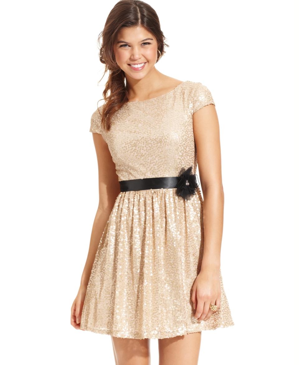 e9f24de87b8eb City Studios Juniors Dress, Cap Sleeve Sequin A Line Juniors Dresses ...