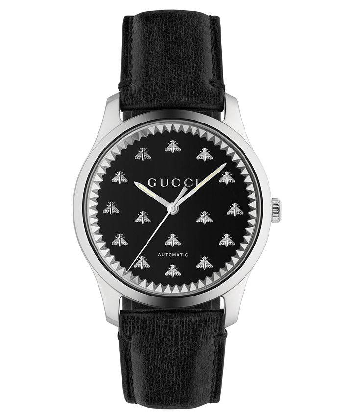 Gucci - Men's Swiss Automatic G-Timeless Black Leather Strap Watch 42mm