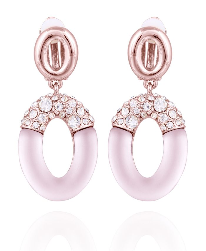 T Tahari - Frosted Lucite Drop Clip Earring