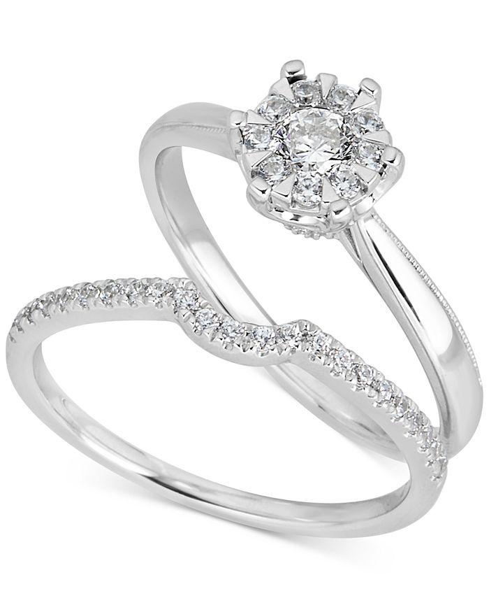 Macy's - Diamond Cluster Bridal Set (1/2 ct. t.w.) in 14k White Gold