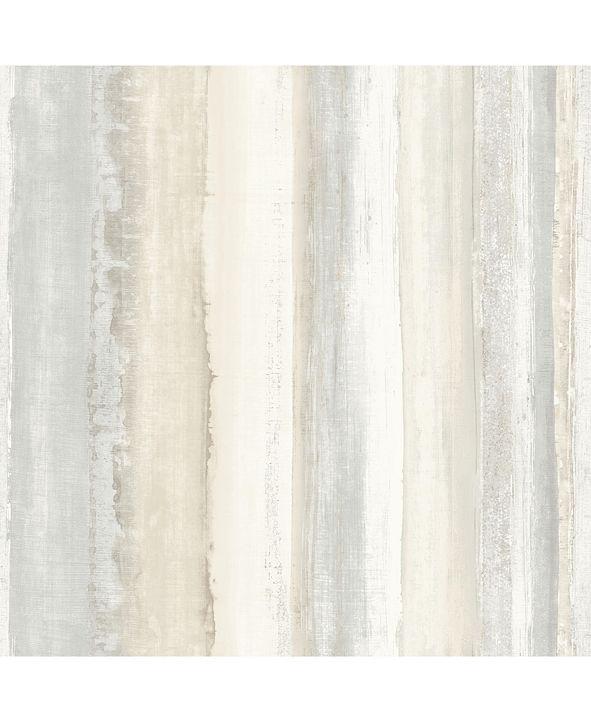 York Wallcoverings Tan Watercolor Stripe Peel & Stick Wallpaper