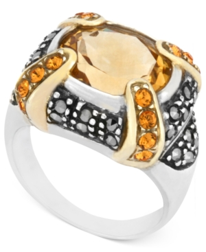 Genevieve & Grace Sterling Silver Ring, Citrine (11 x 10mm), Yellow Crystal (1mm) and Marcasite Gallery Ring