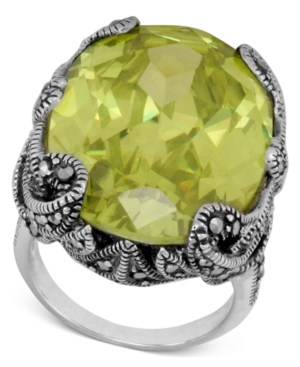 Genevieve & Grace Sterling Silver Ring, Oval Lemon Yellow Crystal (43 ct. t.w.) and Marcasite Gallery Ring