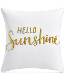"""Charter Club Damask Designs Word Embroidered 16"""" Square Decorative Pillow, Created for Macy's"""