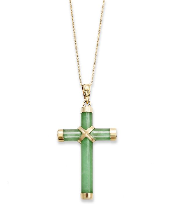 Macy's Jade Cross Pendant Necklace in 10k Gold (20 ct. t.w.)