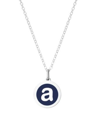 Mini Initial Pendant Necklace in Sterling Silver and Navy Enamel, 16