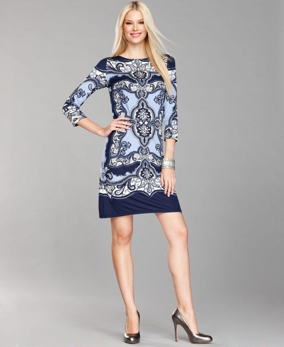 INC International Concepts Dress, Three Quarter Sleeve Printed Shift