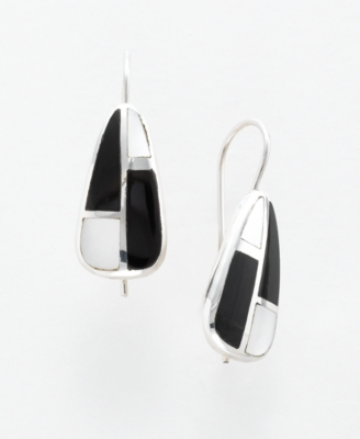 Sterling Silver Onyx & Mother of Pearl Earrings