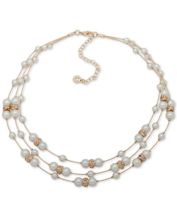 """Anne Klein - Gold-Tone Beaded Three-Row Necklace, 16"""" + 3"""" extender"""