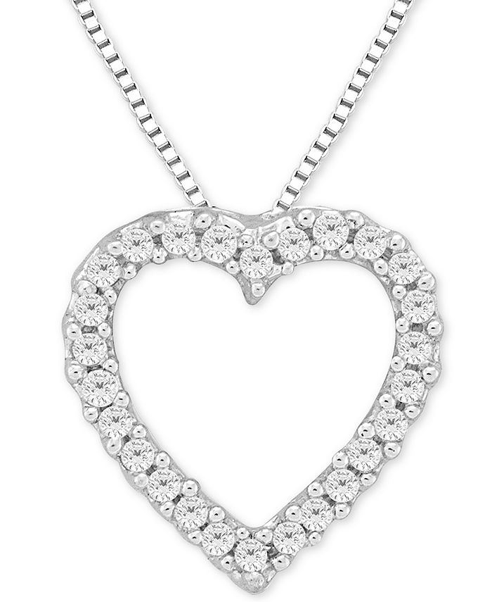 Macy's - Diamond Heart Pendant Necklace in 14k White Gold (1/10 ct. t.w.)