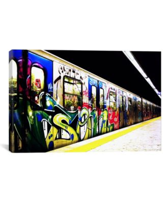 "Train Graffiti by Unknown Artist Wrapped Canvas Print - 18"" x 26"""