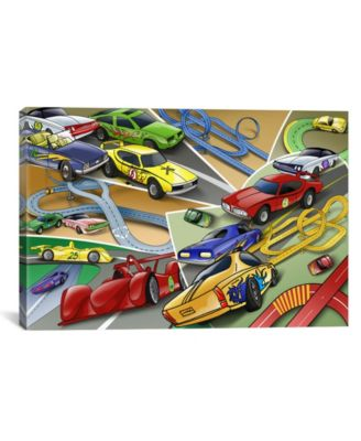 "Cartoon Racing Cars Children Art by Unknown Artist Wrapped Canvas Print - 26"" x 40"""
