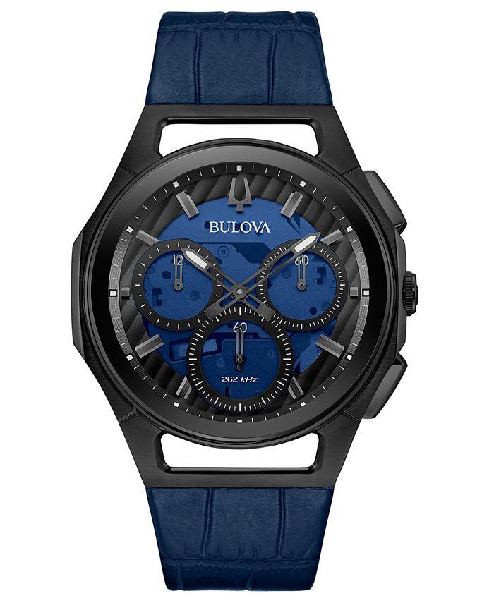 Bulova - Men's Progressive Sport Blue Leather Strap Watch 44mm