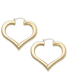 Signature Gold™ Diamond Accent Heart Hoop Earrings in 14k Gold over Resin