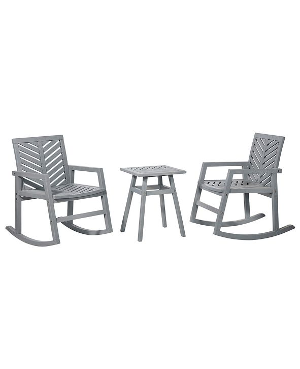 Walker Edison 3 Piece Outdoor Rocking Chair Chat Set