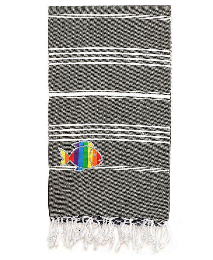 Linum Home - 100% Turkish Cotton Lucky Sparkling Rainbow Fish Pestemal Beach Towel