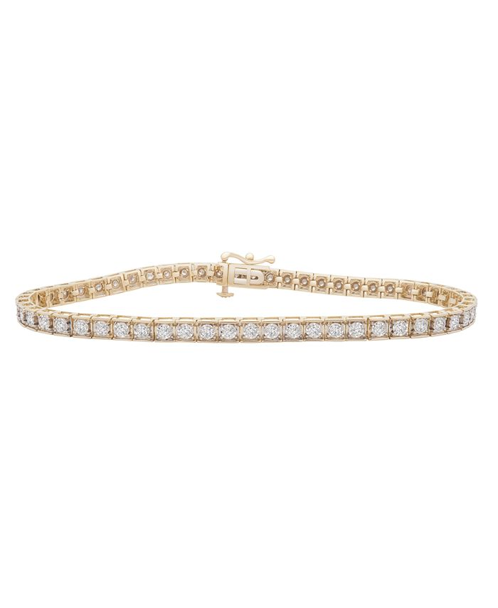 Macy's - Diamond Miracle Plate Tennis Bracelet (1 ct. t.w.) in 10k Gold or White Gold
