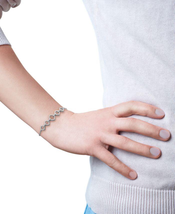 Macy's Diamond Chain Link Bolo Bracelet (1/10 ct. t.w.) in Sterling Silver & Reviews - Bracelets - Jewelry & Watches - Macy's
