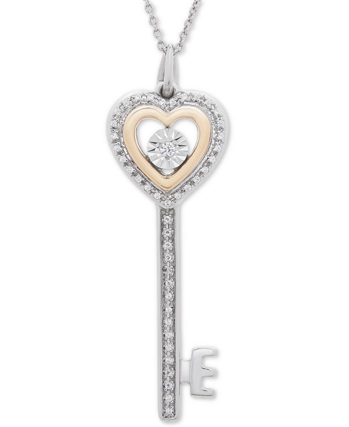 "Macy's - Diamond Heart Key 18"" Pendant Necklace (1/10 ct. t.w.) in Sterling Silver & 14k Gold-Plate"