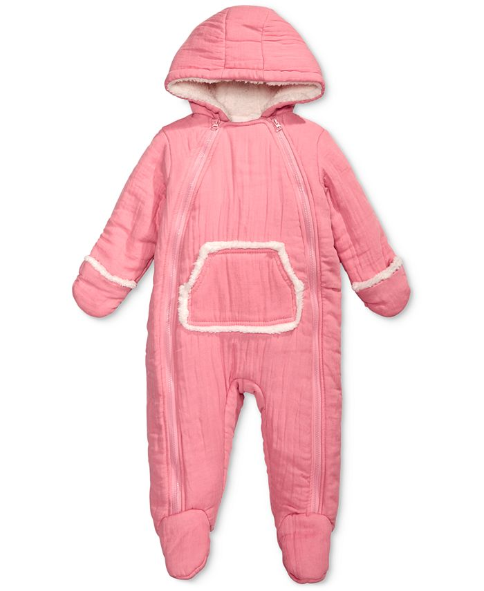 First Impressions - Baby Boys & Girls Hooded Footed Bunting Snowsuit With Faux-Fur Trim