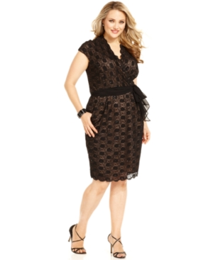 Alex Evenings Plus Size Dress, Cap-Sleeve Belted Sequined Lace