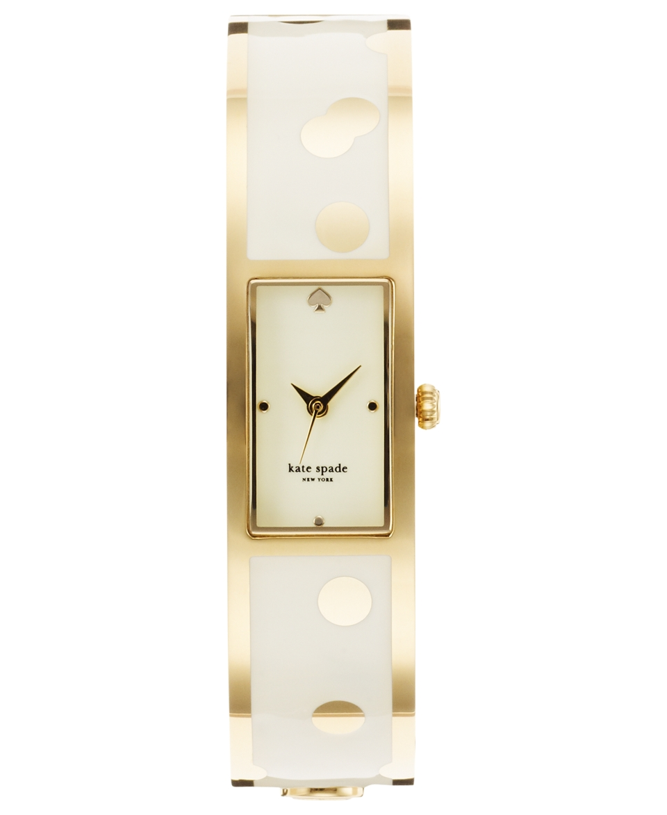 kate spade new york Watch, Womens Carousel White Enamel and Gold Tone Stainless Steel Bangle Bracelet 16mm 1YRU0046   Watches   Jewelry & Watches